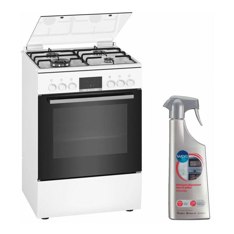 Cuisinière 4 foyers brûleurs gaz blanc 60x60cm Four EcoClean Feu WOK 4KW Gazinière 66L - Blanc - Bosch