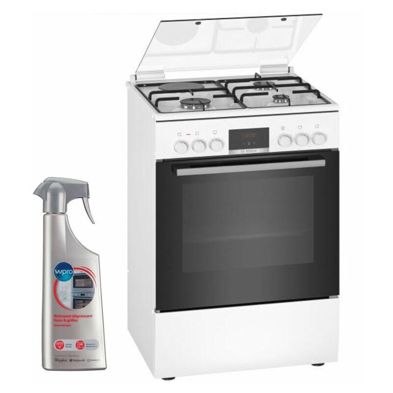 BOSCH Cuisinière Mixte blanc 60x60cm Four EcoClean 66L Multifonction 7 modes de cuisson - Blanc