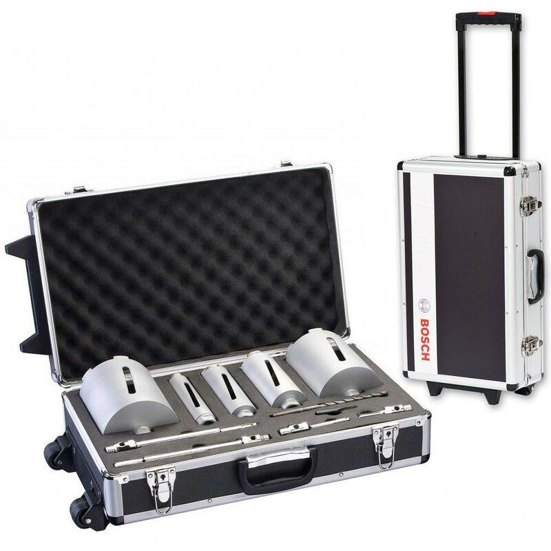 Image of 11 Piece Professional Dry Diamond Core Set + Metal Wheeled Trolley Case - Bosch