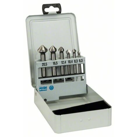 Bosch Fraises coniques à lamer, set de 6 pièces 45 63 mm / 5-10 mm / 6,3 - 8,3 - 10,4 - 12,4 - 16,5 - 20,5 mm