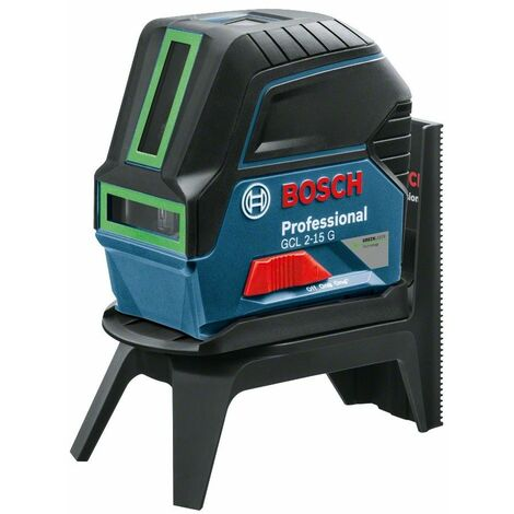 Bosch GCL 2-15 G Nivel láser en cruz con función perpendicular + soporte mural en maletín - 15m - verde