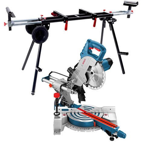 "Bosch GCM800SJ 216mm 8"" Single Bevel Sliding Mitre Saw 110V + Universal Wheel Stand"