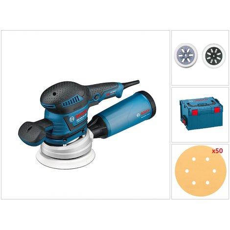Bosch GEX 125-150 AVE Lijadora excéntrica con 50 Hojas de lija en L-boxx - 400W - 125 / 150mm