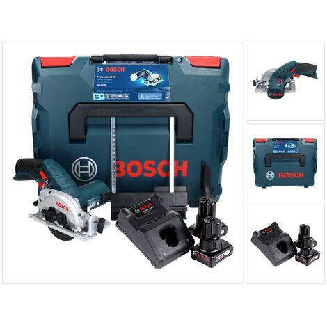 Bosch GKS 12V-26 Professional Scie circulaire sans fil 85mm avec boîtier L-Boxx + 2x Batteries GBA 6,0 Ah + Chargeur rapide GAL 1230 CV