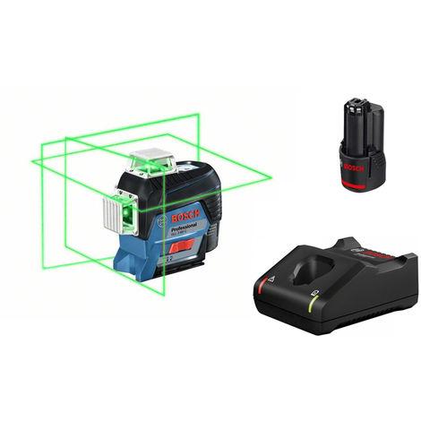 Bosch GLL 3-80 CG 12V Li-Ion Set nivel láser en cruz a batería (1 baterías de 2.0 amperios) en L-Boxx - Verde