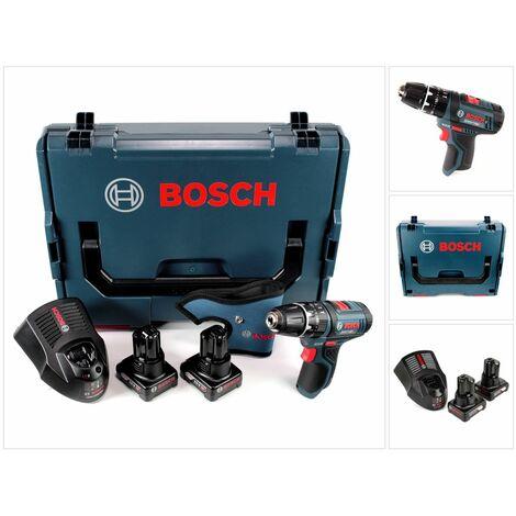 Bosch GSB 12V-15 Professional Perceuse-visseuse à percussion sans fil + 2x Batteries GBA 12 V 4,0 Ah + Chargeur GAL 1230 + Coffret L-Boxx