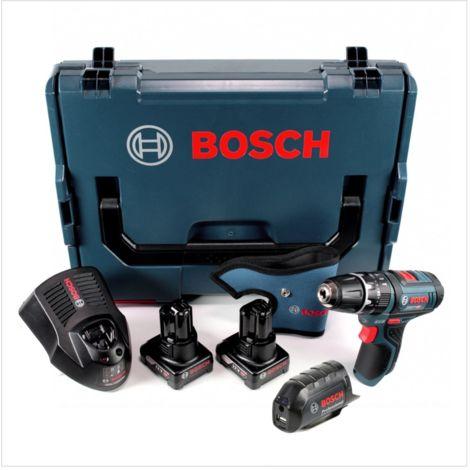 Bosch GSB 12V-15 Professional Perceuse visseuse à percussion sans fil avec boîtier L-Boxx + 2x Batteries GBA 12 V 4,0 Ah + Chargeur GAL 1230 + Adaptateur GAA USB 12V