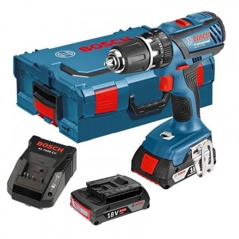 Bosch GSB 18-2 Li Plus 18V Li-Ion Taladro percutor a batería en set (2x baterías de 2.0 amperios) en L-Boxx
