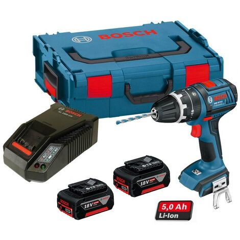Bosch GSB 18 V-LI Combi Drill Dynamic Series + 2 x 5.0ah Cool Pack Batteries