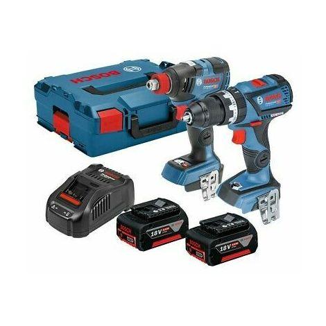 Bosch GSB18V-60C Combi Drill & GDX18V-200 C Impact Driver Twin Kit 2 x 5 Ah Batteries