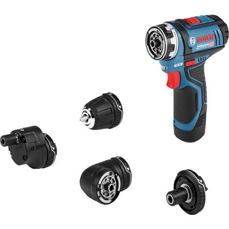 Bosch GSR 12V-15 12V Li-Ion Set Atornilladora / Taladradora a batería (2x baterías 2.0 amperios) en bolsa incl. set de 39 accesorios