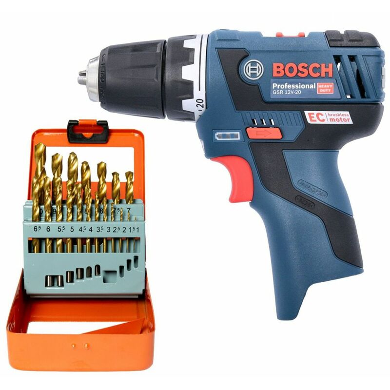 Bosch GSR 12V-20 12V Brushless Drill Driver With 19 Piece HSS Twist Drill Bit Set