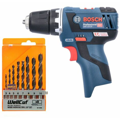 Bosch GSR 12V-20 12V Brushless Drill Driver With 8 Piece Wood Drill Bit Set