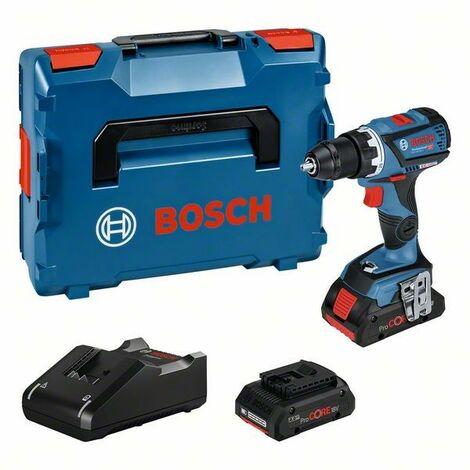 Bosch GSR 18 V-60 C, Perceuse-visseuse sans fil, 2 batteries 18 V 4 Ah coffret L-Case, Mandrin auto-lock en metal