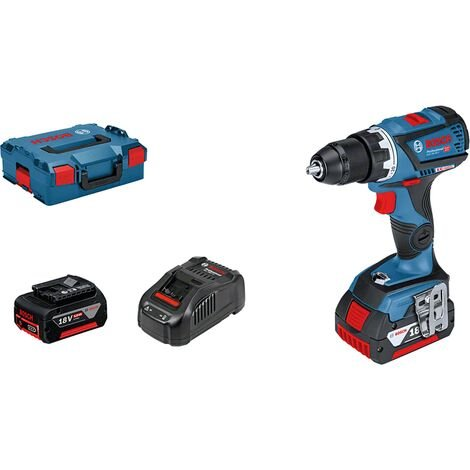 """Bosch GSR 18 V-60 C, Perceuse-visseuse sans fil, 2 batteries 18 V 5 Ah coffret L-Boxx, Mandrin auto-lock en métal avec le module Bluetooth """"simply connected"""" 06019G1101 version 2018 2019"""