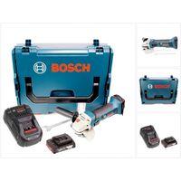 Bosch GWS 18-125 V-LI Professional Amoladora angular inalámbrica en maletín L-Boxx + 1x Batería GBA 2,0 Ah + Cargador GAL 1880 CV