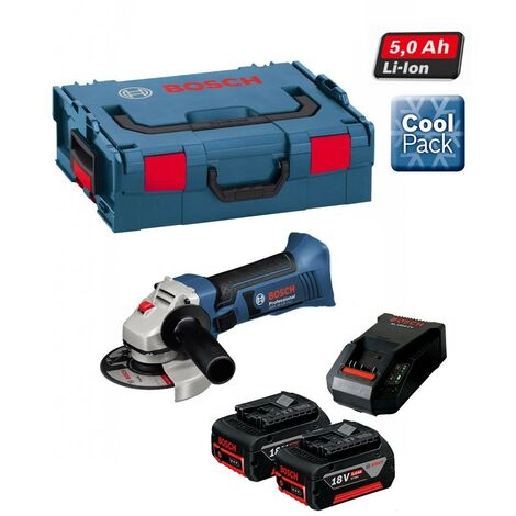Bosch GWS 18VLI 18v Angle Grinder Lithium 115mm 2 x 5.0ah Battery + LBOXX
