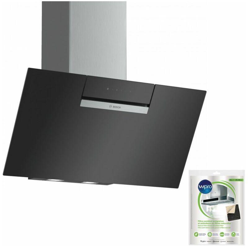 Hotte décorative incliné aspirante noire Largeur 80cm Débit d'air 669m3/h - Noir - Bosch