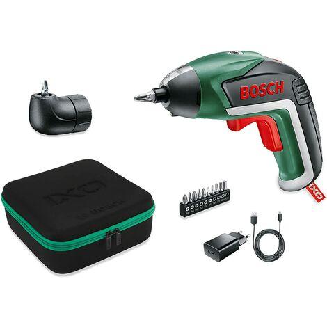 Coffret IXO Medium Bosch - Visseuse sans-fil Lithium-Ion avec renvoi d'angle (livrée avec chargeur USB, embout d'angle et 10 embouts de vissage standrads)