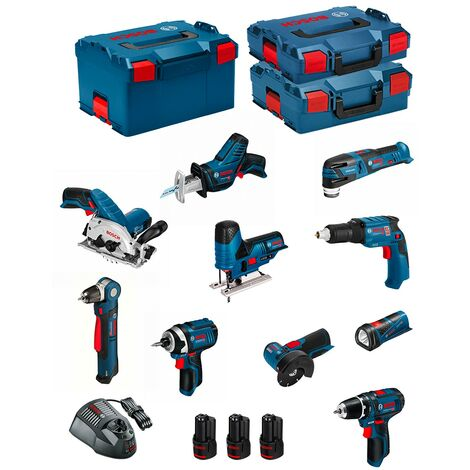 BOSCH Kit 12V BMK10-28AD3 (GSR 12V-15 + GDR 12V-105 + GKS 12V-26 + GWS 12V-76 + GST 12V-70 + GOP 12V-28 + GSA 12V-14 + GWB 12V-10 + GLI 12V-80 + GTB 12V-11 + 3 x 2,0 Ah + GAL1230CV + L-Boxx 102 + L-Boxx 136 + L-Boxx 238)
