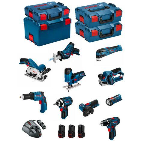 BOSCH Kit 12V BMK10-28CD3 (GSR12V-15+GTB12V-11+GDR12V-105+GWS12V-76+GST12V-70+GKS12V-26+GOP12V-28+GSA12V-14+GLI12V-80+GHO12V-20)