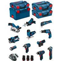 BOSCH Kit 12V BMK11-28AD3(GSR 12V-15 + GDR 12V-105 + GKS 12V-26 + GWS 12V-76 + GST 12V-70 + GOP 12V-28 + GSA 12V-14 + GWB 12V-10 + GLI 12V-80 + GTB 12V-11 + GHO 12V-20 + 3 x 2,0 Ah + GAL1230CV + L-Boxx 102 + 2 x L-Boxx 136 + L-Boxx 238)