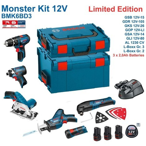 BOSCH Kit 12V BMK6BD3 (GSB 12V-15 + GDR 12V-105 + GKS 12V-26 + GOP 12V-LI + GSA 12V-14 + GLI 12V-80 + 3 x 2,0Ah + GAL1230CV + L-Boxx 238 + L-Boxx 136)