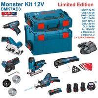 BOSCH Kit 12V BMK7AD3 (GSR 12V-15 + GKS 12V-26 + GWS 12V-76 + GST 12V-70 + GOP 12V-LI + GSA 12V-14 + GLI 12V-80 + 3 x 2,0 Ah + GAL1230CV + L-Boxx 238 + L-Boxx 136)