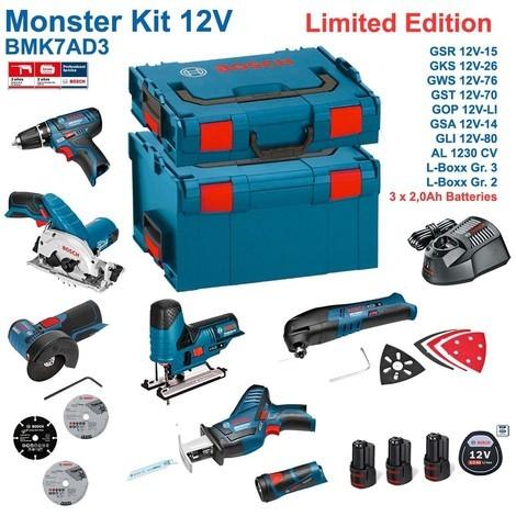 BOSCH Kit 12V BMK7AD3 (GSR 12V-15 + GKS 12V-26 + GWS 12V-76 + GST 12V-70 + GOP 12V-LI + GSA 12V-14 + GLI 12V-80 + 3 x 2,0Ah + GAL1230CV + L-Boxx 238 + L-Boxx 136)