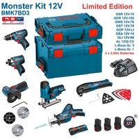 BOSCH Kit 12V BMK7BD3 (GSR 12V-15 + GDR 12V-105 + GWS 12V-76 + GST 12V-70 + GOP 12V-LI + GSA 12V-14 + GLI 12V-80 + 3 x 2,0 Ah + GAL1230CV + L-Boxx 238 + L-Boxx 102)