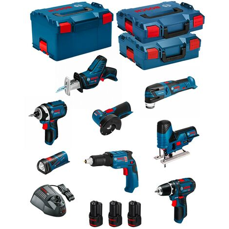 BOSCH Kit 12V BMK8-28AD3 (GSR 12V-15+GTB 12V-11+GDR 12V-105+GWS 12V-76+GST 12V-70+GOP 12V-28+GSA 12V-14+GLI 12V-80+3 x 2,0Ah)