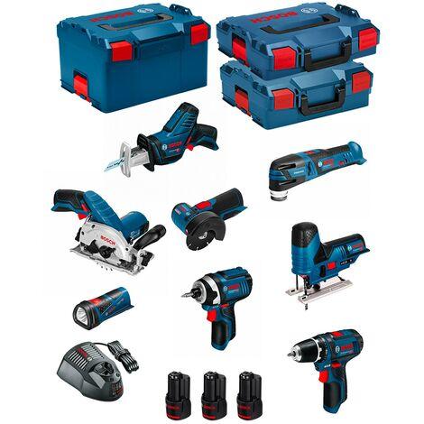 BOSCH Kit 12V BMK8-28BD3 (GSR 12V-15+GDR 12V-105+GKS 12V-26+GWS 12V-76+GST 12V-70+GOP 12V-28+GSA 12V-14+GLI 12V-80+3 x 2,0Ah)