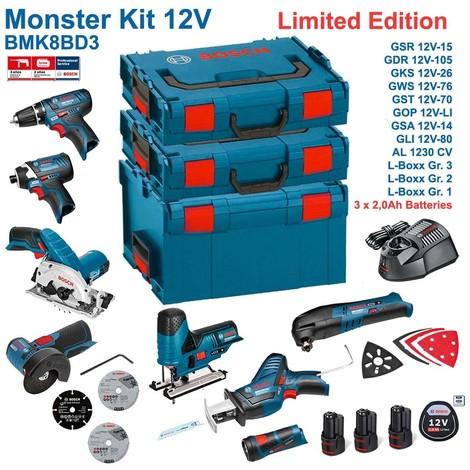 BOSCH Kit 12V BMK8BD3 (GSR 12V-15 + GDR 12V-105 + GKS 12V-26 + GWS 12V-76 + GST 12V-70 + GOP 12V-LI + GSA 12V-14 + GLI 12V-80 + 3 x 2,0Ah + GAL1230CV + L-Boxx 238 + L-Boxx 136 + L-Boxx 102)
