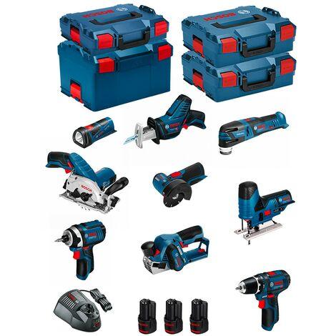 BOSCH Kit 12V BMK9-28DD3 (GSR 12V-15 + GDR 12V-105 + GKS 12V-26 + GWS 12V-76 + GST 12V-70 + GOP 12V-28 + GSA 12V-14 + GLI 12V-80 + GHO 12V-20 + 3 x 2,0 Ah + GAL1230CV + L-Boxx 102 + 2 x L-Boxx 136 + L-Boxx 238)