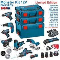 BOSCH Kit 12V BMK9AD3 (GSR 12V-15 + GTB 12V-11 + GDR 12V-105 + GWS 12V-76 + GST 12V-70 + GKS 12V-26 + GOP 12V-LI + GSA 12V-14 + GLI 12V-80 + 3 x 2,0 Ah + GAL1230CV + L-Boxx 238 + L-Boxx 136 + L-Boxx 102)