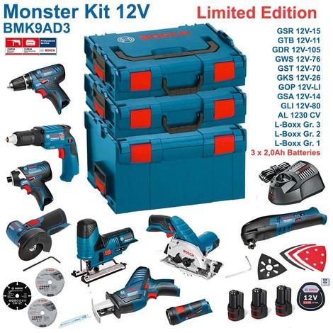 BOSCH Kit 12V BMK9AD3 (GSR 12V-15 + GTB 12V-11 + GDR 12V-105 + GWS 12V-76 + GST 12V-70 + GKS 12V-26 + GOP 12V-LI + GSA 12V-14 + GLI 12V-80 + 3 x 2,0Ah + GAL1230CV + L-Boxx 238 + L-Boxx 136 + L-Boxx 102)