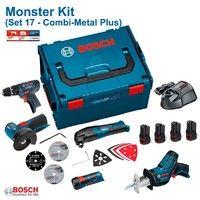 BOSCH Kit 12V Set 17 (GSB 12V-15 + GWS 12-76 + GSA 12V-14 + GOP 12V-LI + GLI 12V-80 + 4 x 1,5 Ah + GAL1230CV + L-Boxx 238)