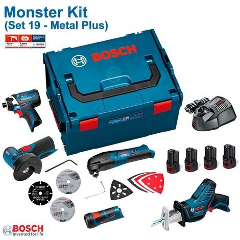 BOSCH Kit 12V Set 19 (GDR 12V-105 + GWS 12V-76 + GOP 12V-LI + GSA 12V-14 + GLI 12V-80 + 4 x 1,5 Ah + GAL1230CV + L-Boxx 238)