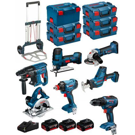 BOSCH Kit 18V BK701 (GST18V-LIS+GKS18V-LI+GBH18V-21+GWS18-125V-LI+GSR18V-55+GSA18V-LIC+GDX18V-180+ 3x4,0Ah+GAL18V-40+6xL-Boxx)