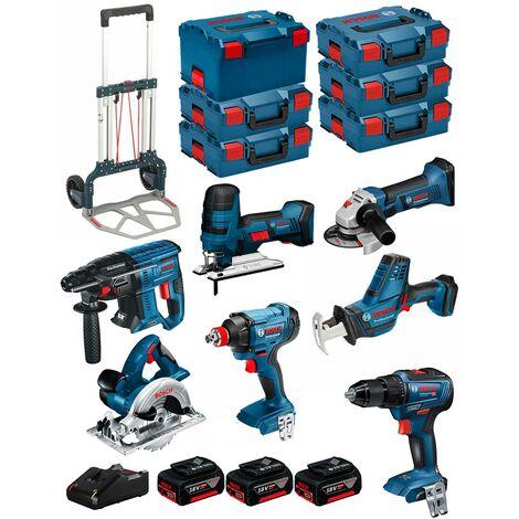 BOSCH Kit 18V BK702 (GST18V-LIS+GKS18V-LI+GBH18V-21+GWS18-125V-LI+GSR18V-55+GSA18V-LIC+GDX18V-180+ 3x5,0Ah+GAL18V-40+6xL-Boxx)