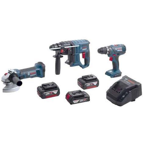 BOSCH Kit 3 outils 18V 2x4Ah + 1x3Ah (GSR+GWS+GBH) - 0615990K6M