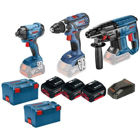 BOSCH Kit 3 outils 18V 4Ah (GSR+GDR+GBH) - 0615990K4L