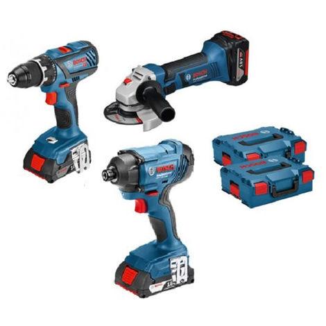 BOSCH Kit 3 outils 18V Perceuse + Visseuse + Meuleuse - KIT3OUT18V2 - 0615990K4K