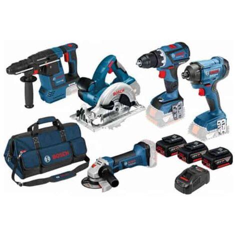 BOSCH Kit 5 outils 18V 3x5Ah (GSR+GDR+GBH+GWS+GKS) - 0615990K9J