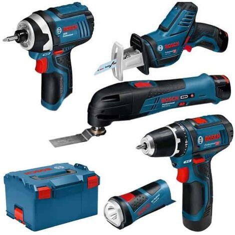 BOSCH Kit 5 outils + 3 batteries 12V 2.0Ah en L-boxx - 0615990K11