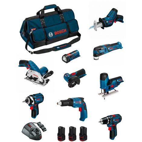 BOSCH Kit BMKB9-28AD3 (GSR12V-15+GTB12V-11+GDR12V-105+GWS12V-76+GST12V-70+GKS12V-26+GOP12V-28+GSA12V-14+GLI12V-80+3x2,0Ah)