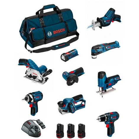 BOSCH Kit BMKB9-28DD3 (GSR12V-15+GDR12V-105+GKS12V-26+GWS12V-76+GST12V-70+GOP12V-28+GSA12V-14+GLI12V-80+GHO12V-20+3x2,0Ah...)