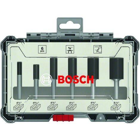 """Bosch Kit de 6 fraises droites à queue de 1/4"""" - 2607017467"""