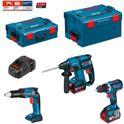 BOSCH Kit ECL3P2BE (GSR 18 V-EC TE + GBH 18 V-EC + GSR 18V-60 C + 2 x 5,0 Ah + GAL1880CV + L-Boxx 136 + L-Boxx 238)