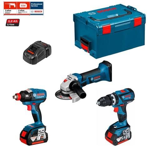 BOSCH Kit GSB 18V-60 C + GDX 18 V-EC + GWS 18 V-LI (2 x 5,0 Ah + GAL1880CV + L-Boxx 136)